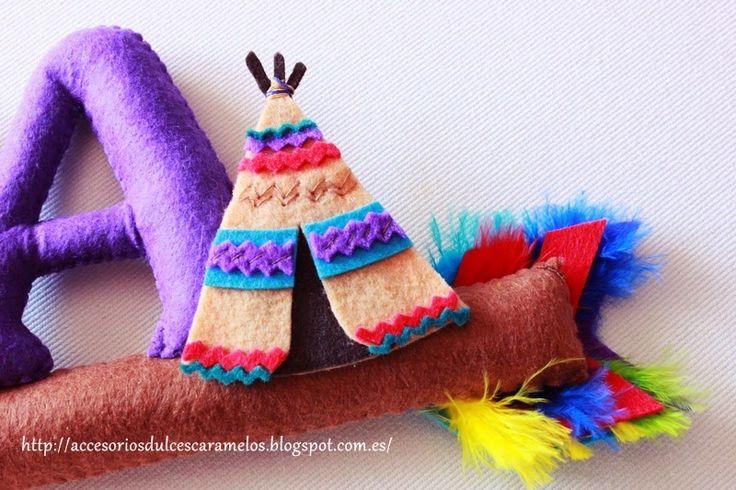 Luka, nombre de fieltro de Indios, mapache, name felt indians, tipi, raccoon, http://accesoriosdulcescaramelos.blogspot.com.es/2015/04/luka-nombre-de-fieltro-de-indios.html
