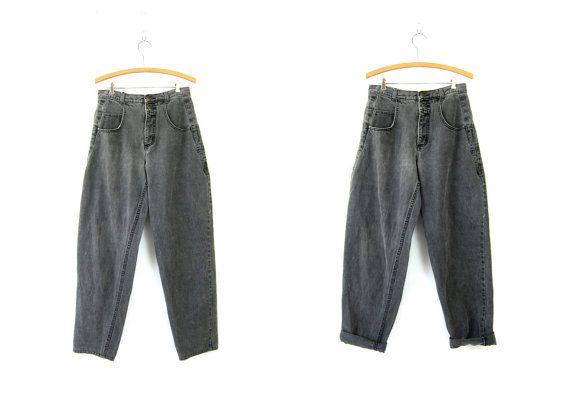 jeans GUESS Vintage 1980 disparu noir gris par dirtybirdiesvintage