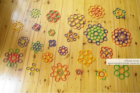 Mandala Vorlage für Kinder - Blumenwiese aus lauter kleinen Mandalas - mit Spielgabe 9 (geometrische Figuren, Ringe) nach dem Pädagogen Friedrich Fröbel