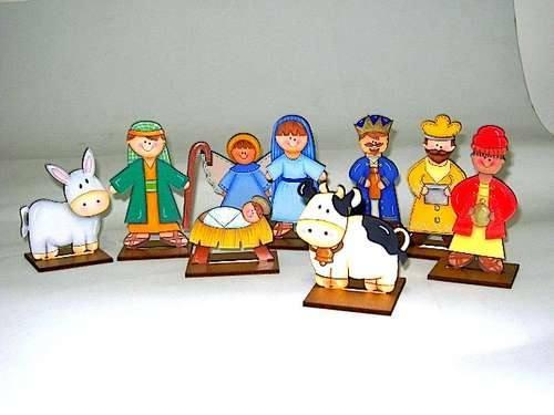 Navidad nacimiento en madera mdf 9 figuras de 9 cm - Dibujos de nacimientos de navidad ...