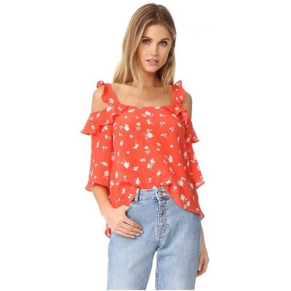 Shoshanna Bronwen Blouse (177.110 CRC) ❤ liked on Polyvore featuring tops, blouses, coral multi, frilly blouse, flutter sleeve blouse, cold shoulder blouse, red top and open shoulder blouse
