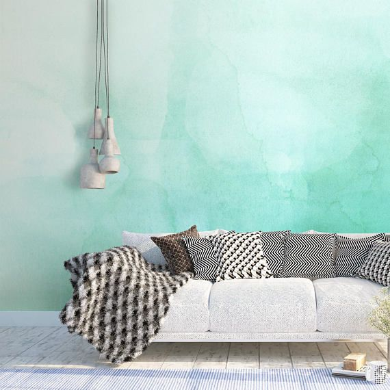 Green Ombre Watercolor Wallpaper Luxury Removable Peel And