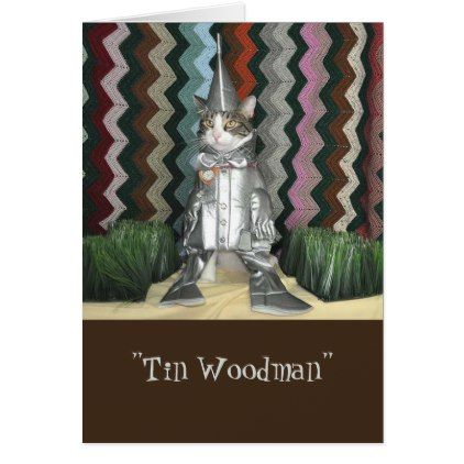 Black and white tabby cat dressed as tin woodsman card - black and white gifts unique special b&w style