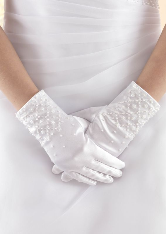Satin Gloves with Criss Cross Beaded Design LG43
