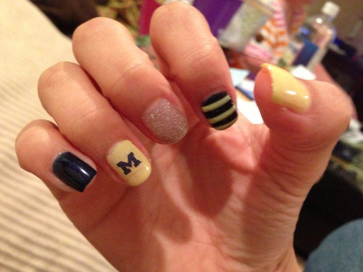 My Michigan themed nails