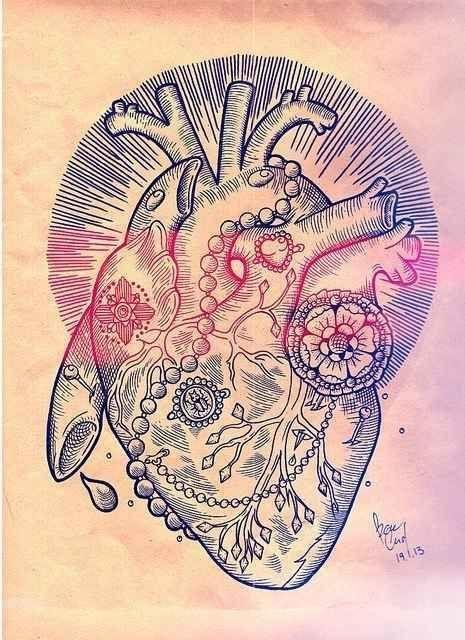 А какое оно у тебя? тату, длиннопост, арт, эскиз, тату на груди, сердце, анатомическое сердце, рисунок