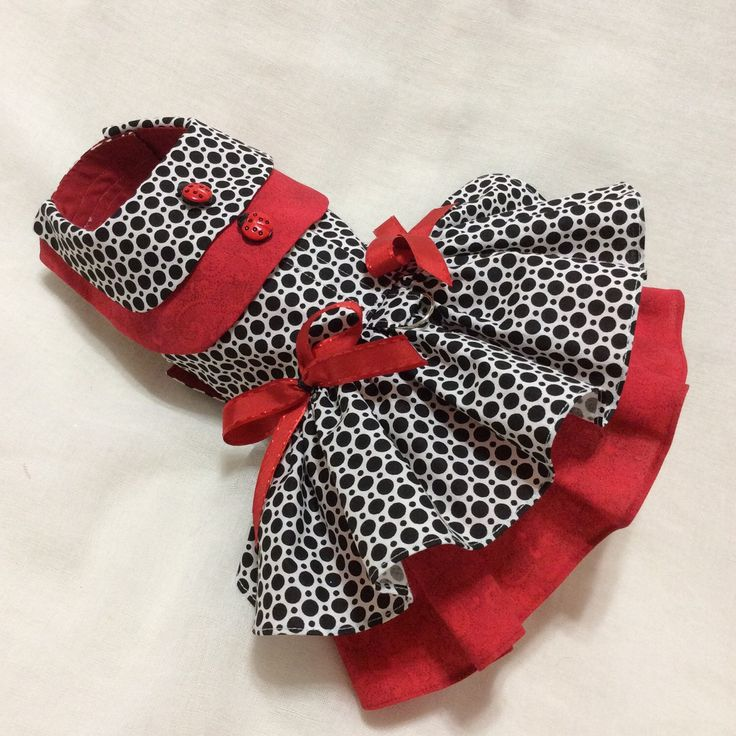 A personal favorite from my Etsy shop https://www.etsy.com/listing/245589998/black-and-red-polkadots-dog-dress