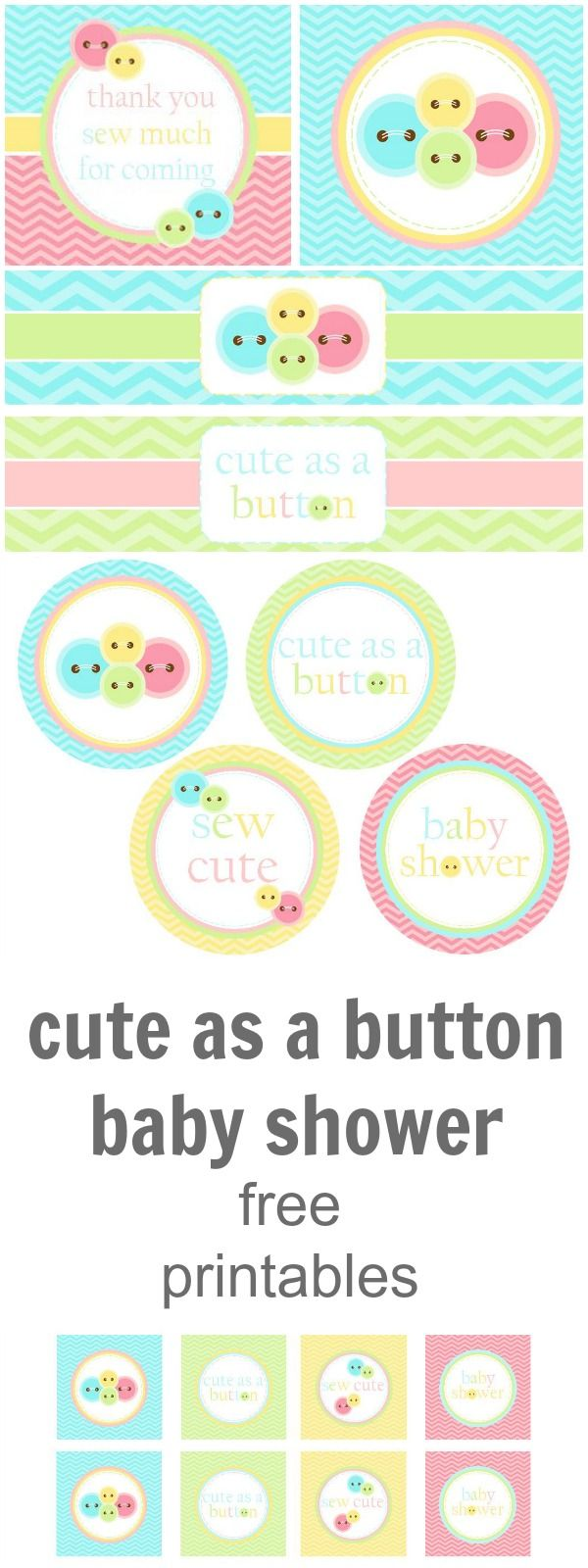 Cute As A Button | Baby Shower Free Printables www.weheartparties.com