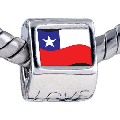 Pugster Bead Chile Flag Beads Fits Pandora Bracelet Pugster. $12.49. Bracelet sold separately. It's the photo on the love charm. Hole size is approximately 4.8 to 5mm. Fit Pandora, Biagi, and Chamilia Charm Bead Bracelets. Unthreaded European story bracelet design