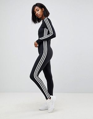 61e19881da3d adidas Originals adicolor Three Stripe Stirrup Jumpsuit In Black ...