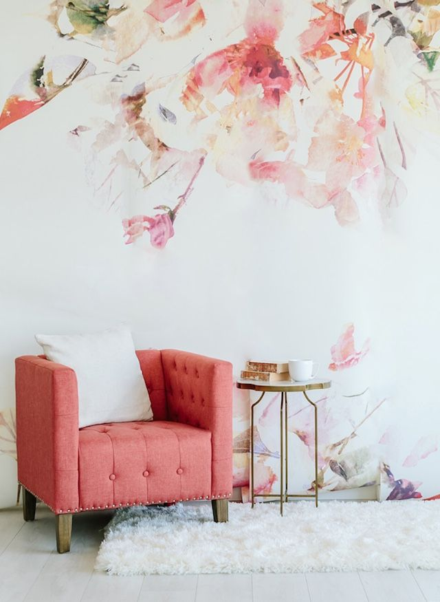 floarl wallpaper creme and pink. pink accent chair white rug glam chic decor No Green Thumb Interiors | FrenchByDesign