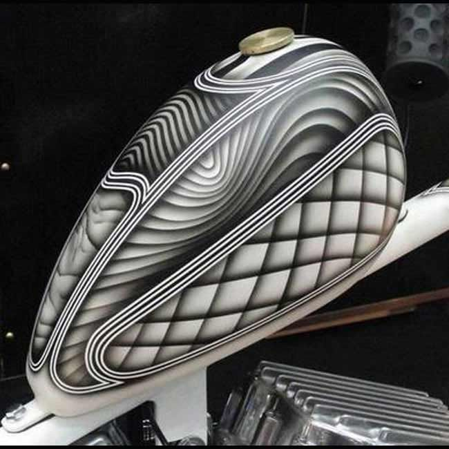 """Black and White Custom Painted Motorcycle Tank--- 1 of 14 Pictures in our """"Other Motorcycle Related"""" Album  #Motorcycle"""