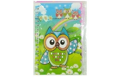 Wise Owl with Pen Spiral Bound Small Notebook Set - Green