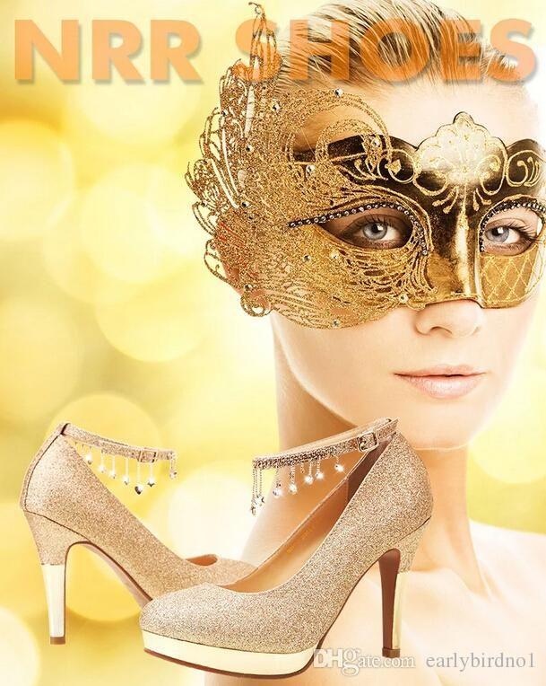 scarpe da sposa tacco alto scarpe da sposa di cristallo tacco sottile scarpe di strass