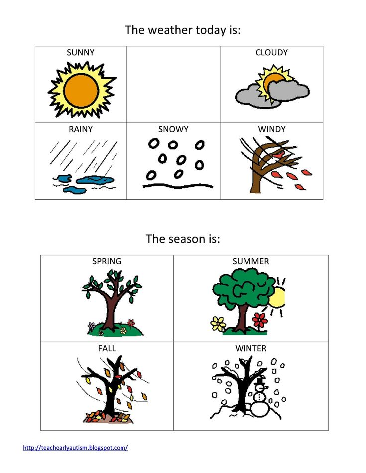 Special School Worksheets : Teach early autism weather and seasons printable