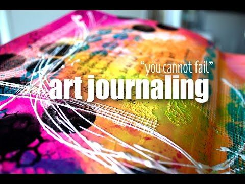 """art journaling: """"you cannot fail"""" - YouTube Dylusions paints. You can spray over them once they're dry!"""