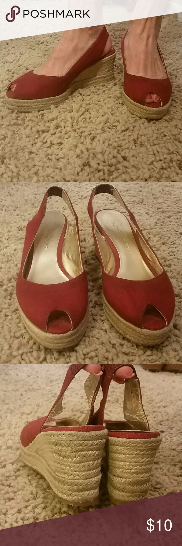 Jessica Simpson red espadrille low wedge Lightly worn but still in good shape.  Super comfortable. 3 inch heel. 1 inch platform. Jessica Simpson Shoes Espadrilles