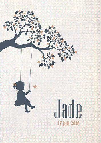 Geboortekaartje Jade - voorkant - Pimpelpluis - https://www.facebook.com/pages/Pimpelpluis/188675421305550?ref=hl (# meisje - schommel - vogel - boom - silhouet - origineel)