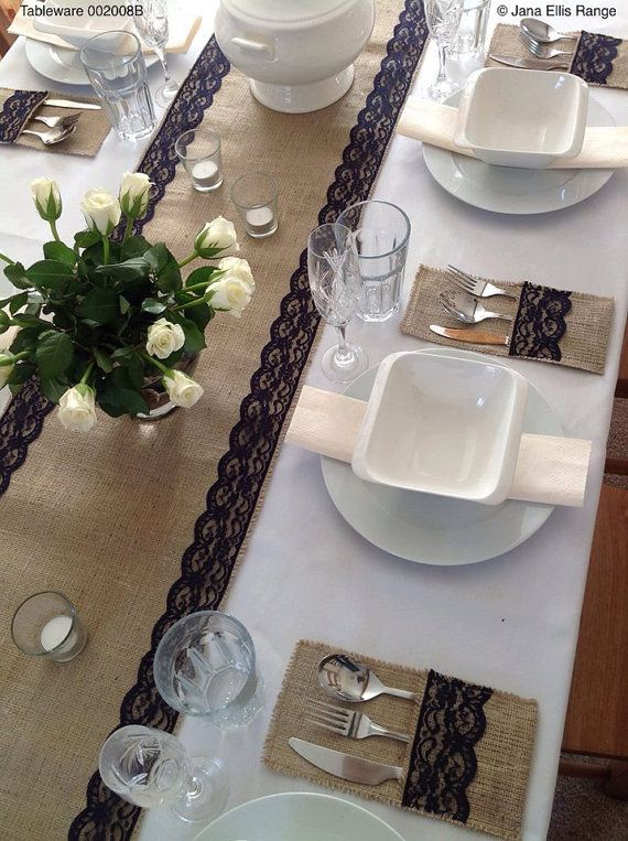 Natural Burlap/hessian with Navy Blue Lace Table by JanaEllisRange
