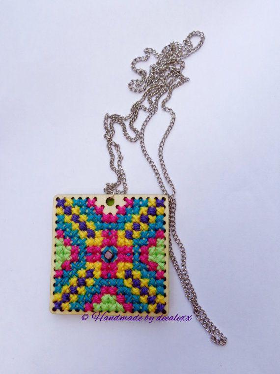 Cross stitch necklace / wood cross stitch / cross by deealexx