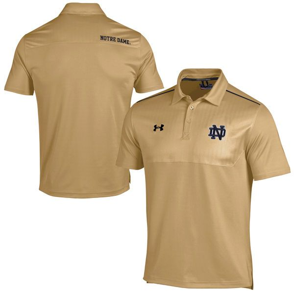 Notre Dame Fighting Irish Under Armour Football Sideline Polo - Gold - $37.99