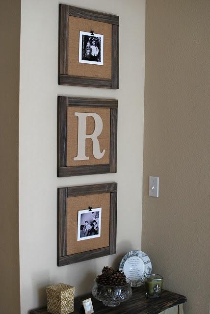 DIY burlap frames love that u can change pictures easily, just clip 'em on.
