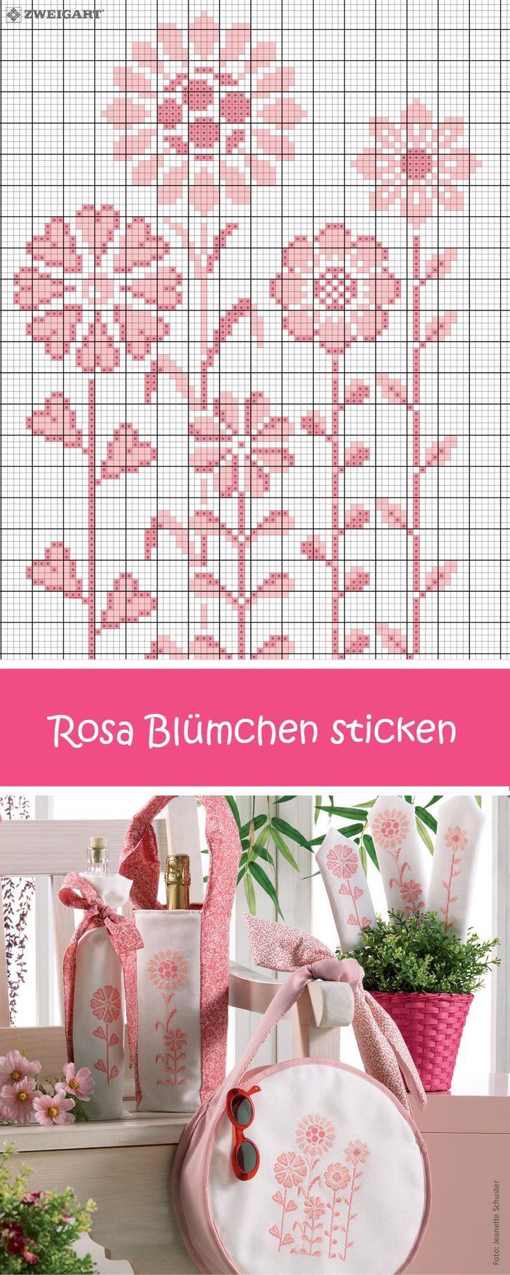 Rosa Blumen sticken – Entdecke zahlreiche kostenlose Charts zum Sticken!