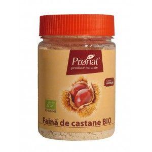 Faina de castane BIO,100gr Făina de castane este o făină dulce de culoare brun deschis, obținută prin uscarea și măcinarea fină a castanelor comestibile cultivate la altitudini de 450-900 m.
