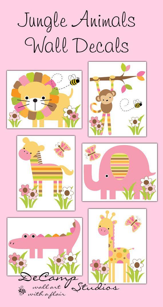 Mod Jungle Animals wall decals or 8x10 Wall art Prints for baby girl safari zoo…