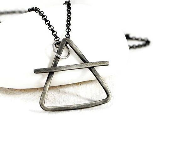 Alchemy Silver Chain Necklace. Mens Rustic Pendant Necklace.