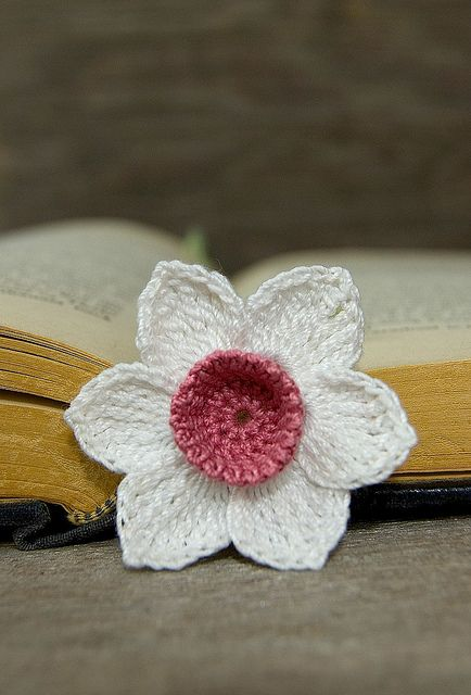 Pretty daffodil bookmark with pink center I made!