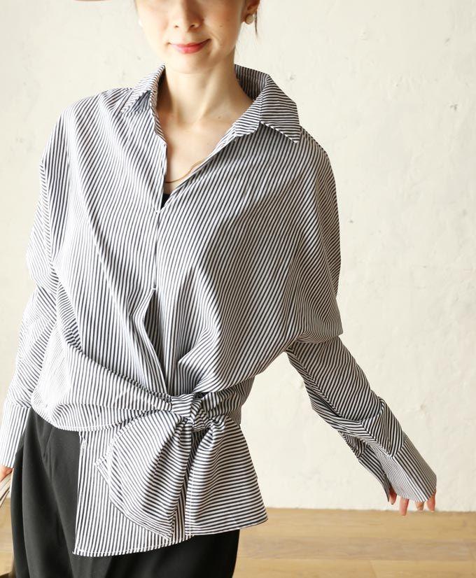 【楽天市場】【再入荷♪2月15日12時&22時より】「french」アシメ裾リボンを楽しむストライプシャツトップス:cawaii