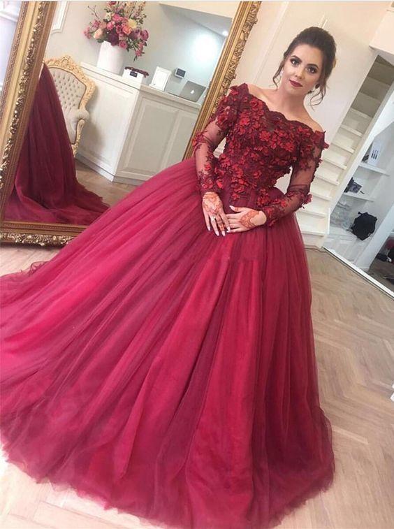 492c3efa1ef Elegant Off Shoulder Quinceanera Dresses With Long Sleeves Appliques ...