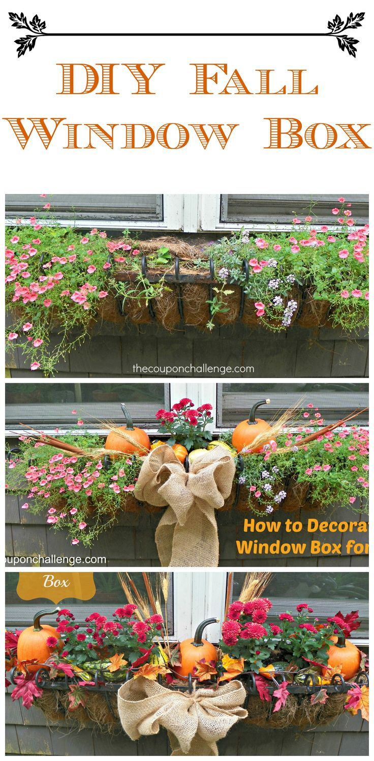 Fall Window Box #DIY #FallFlowersDecorating Fall Window Box, Fall Windowboxes, Fall Flower Box, Autumn Window Box, Diy Fall Planter, Diy Fallflow, Burlap Ribbon, Boxes Fall, Fall Planter Box