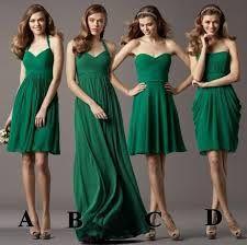 Resultado de imagen para vestidos de dama de honor color verde esmeralda