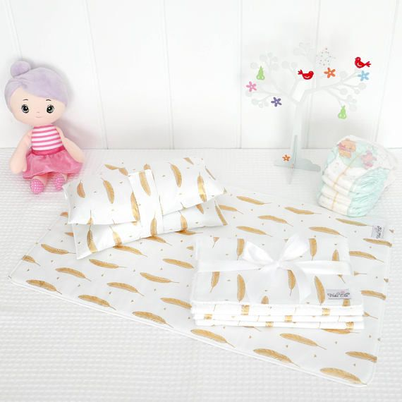 Baby Gift Set  Gold Feathers