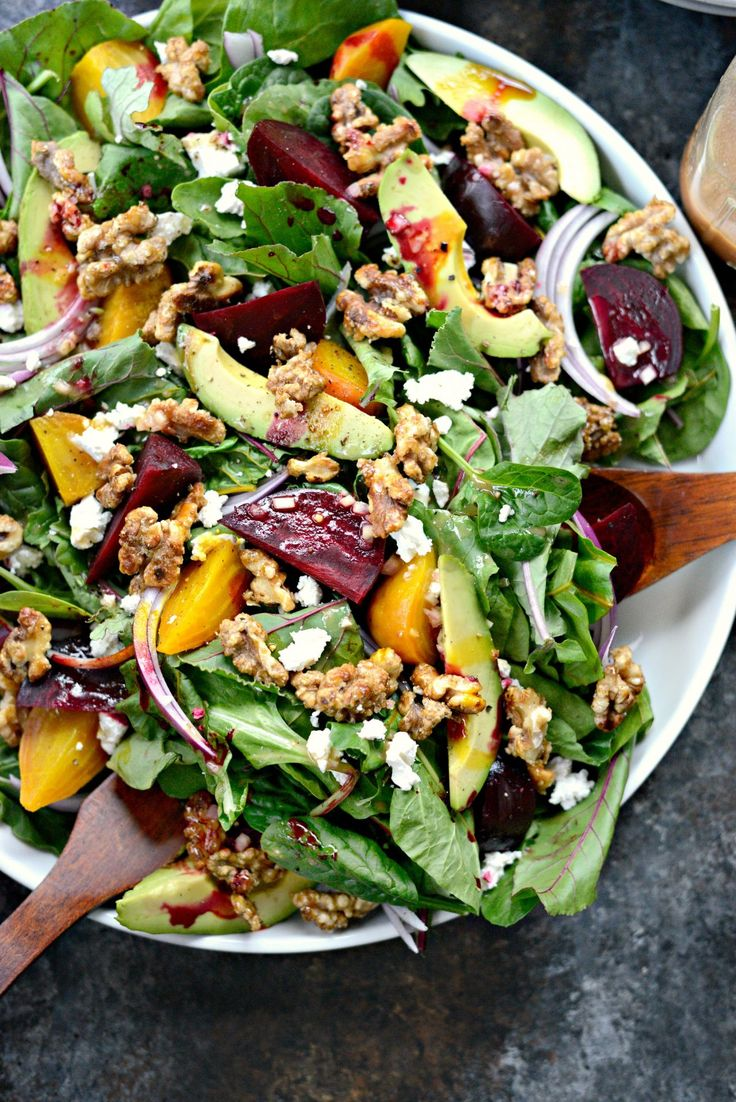 Roasted Beet Salad with Avocado, Goat Cheese, Candied Walnuts and Honey Dijon Vinaigrette
