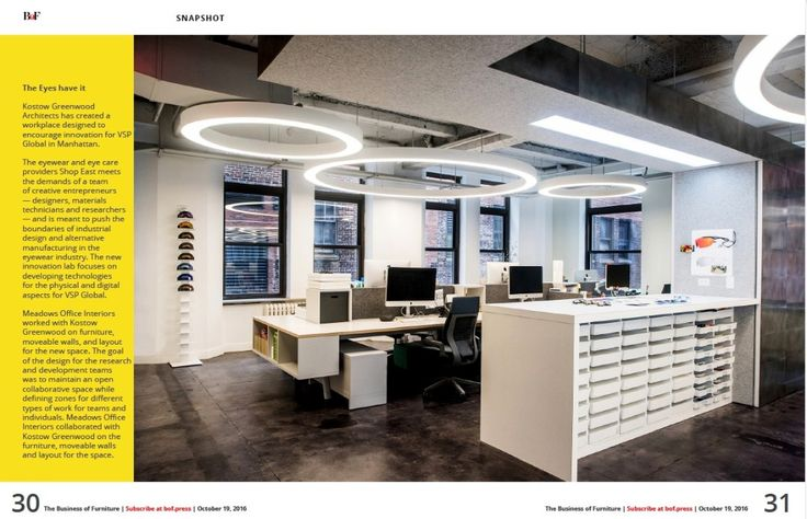 Business of Furniture Magazine highlights VSP Global`s showroom in Manhattan. Meadows Office Interiors was honored to work with Kostow Greenwood Architects on the furniture, moveable walls, and layout of this new space! #bellowpress #officedesign #furniture #nyc #dealer