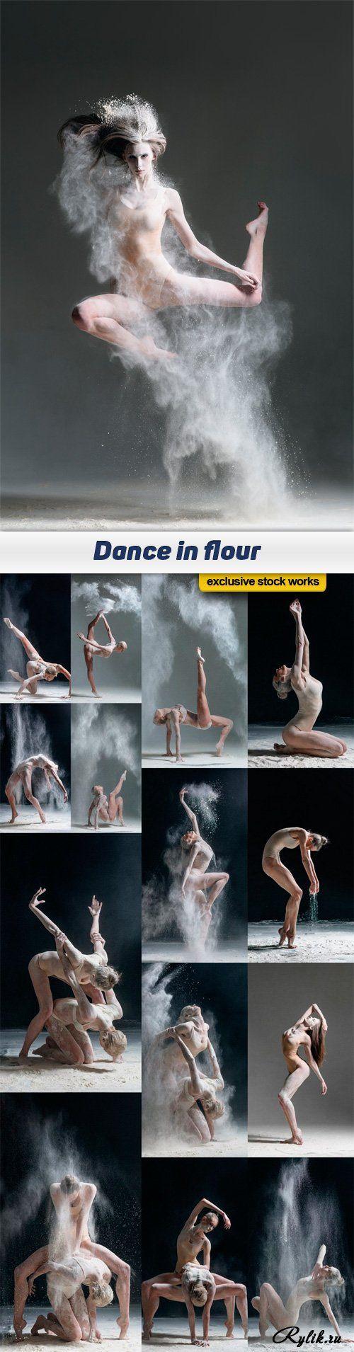 Танец с мукой фотоклипарт. Dance in flour