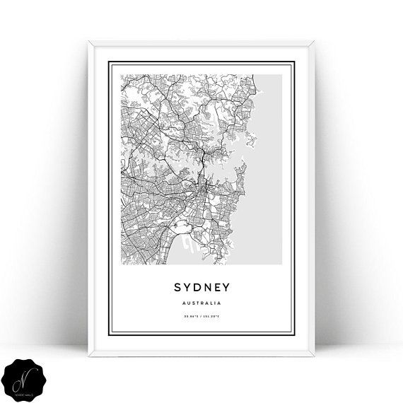 Sydney Map Printable Wall Art, Downloadable Map Of Sydney Wall Art ...