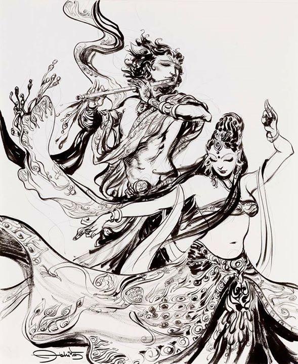 Radha-Krishna, sketch by Abhiart.