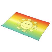 #Happy #Smiling Sunny Faces, Smiley #Emoji Cloth #PlaceMat