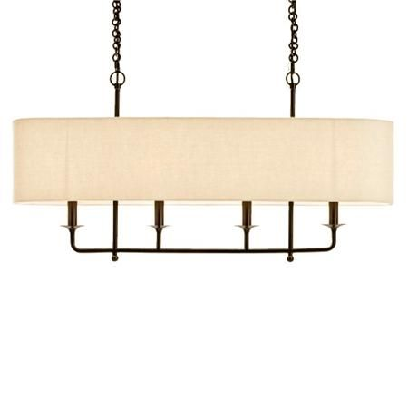 "Bronze with a tan linen shade. 4x25 watts. (candle base socket) (20""Hx40""Wx9""D) 6' chain Canopy: (24""x3"") $815"