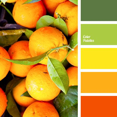 Color Palette #2092: A rich palette of colors – shades of green, yellow, mustard, bright orange.