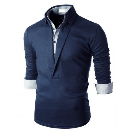 Doublju Mens Button Down Shirt Layered Polo Collar T-Shirts (KMTTL061) Doublju