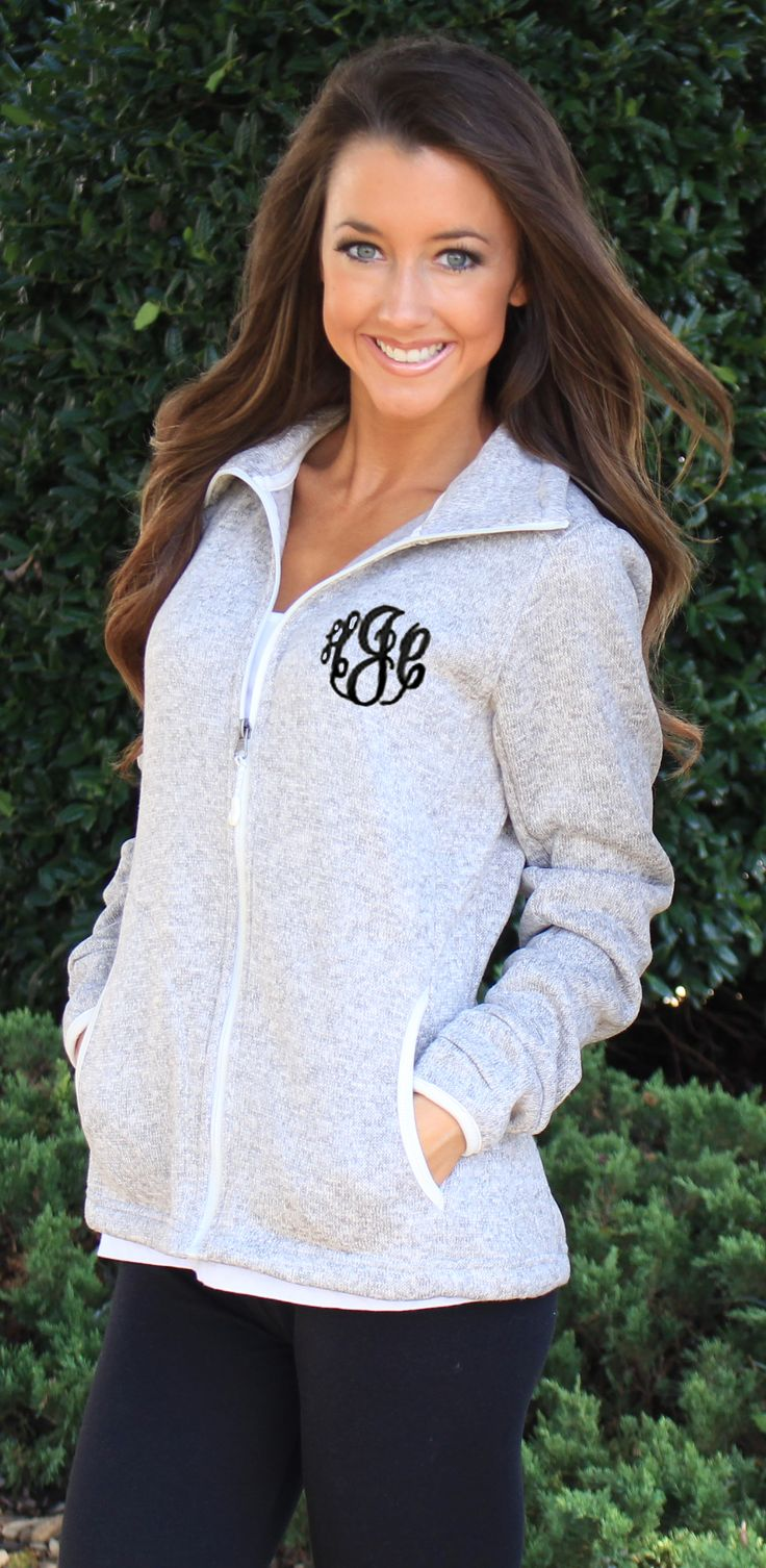 Monogrammed Heathered Fleece Jacket at Marleylilly.com!
