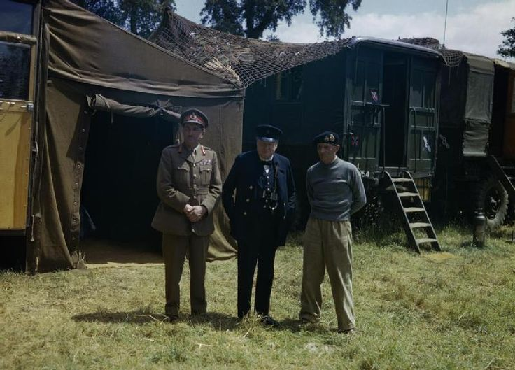 PRIME MINISTER WINSTON CHURCHILL VISITS NORMANDY 12 JUNE 1944 (TR 1838)   Left to right: The Chief of the Imperial General Staff, Field Marshal Sir Alan Brooke; Mr Winston Churchill; and the Commander of the 21st Army Group, General Sir Bernard Montgomery, at Montgomery's mobile headquarters in Normandy.