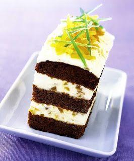 Dessert recipes: Ginger cake with cream.