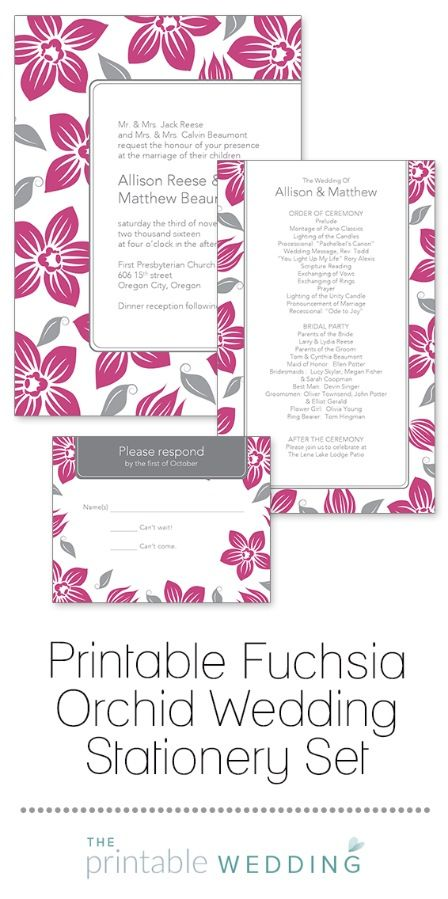 Beautiful, stylized orchids in fuchsia create a look perfect for an island or tropical wedding stationery set. A double-lined border gently frames the details of your upcoming ceremony on this easy to personalize invitation template. | Printable Fuchsia Orchid Wedding Stationery Set from #ThePrintableWedding