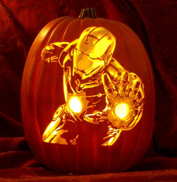 Peyton would flip out with excitement ..  #IronMan carve by The Pumpkin Geek!